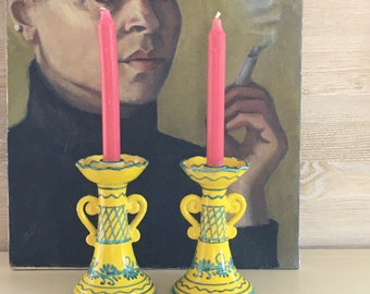 PAIR of Yellow & Aqua Hand-painted Candlesticks   Vintage   ITALY