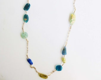 Gold and Roman Glass Necklace, Double Wrap Necklace, Ancient Glass and Gold Chain, The Atlantis Necklace