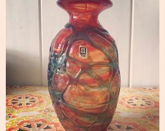 Mdina Art Glass Vase in Orange with applied blue trails.