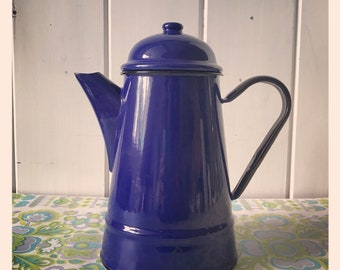 Enamel Coffee Pot with lid circa 1970's
