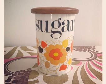1960's Crown Devon Carnaby Sugar canister. Designed by Mary Quant.