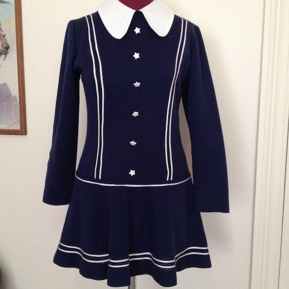 Vintage 60's Wool Mini Dress, Dorsam, Star Buttons