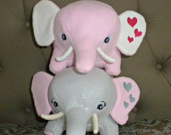 Sale!/Elephant Stuffed Animal/Pink Elephant Toy/Stuffed Elephant/Gray Elephant Stuffed Animal/Ready to Ship/Sale/Jungle Animal/Grey Plushie