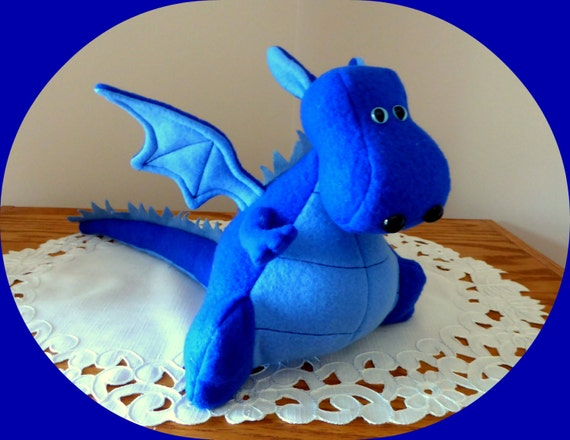 Flying Dragon Stuffed Animal Blue Dragon Toy Yoki The Fat Dragon Ready Made Diy Fluffies Fleece Dragon With Wings Made In Usa Dinosaur Plush