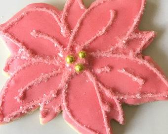 Gluten Free Decorated Cookies, Poinsettia flower, Sugar Cookie