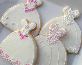 Gluten-free Decorated Cookie - Wedding Dress cookie Favor
