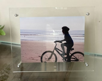 Picture Floating Frame Acrylic Plastic Clear Tabletop Desktop Bolts Silver Gold  Stand. In Stock
