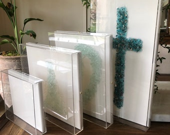 Frame SHADOW.  CUSTOM Acrylic Clear Lucite Box with Canvas. Made in USA. Custom sizes welcome