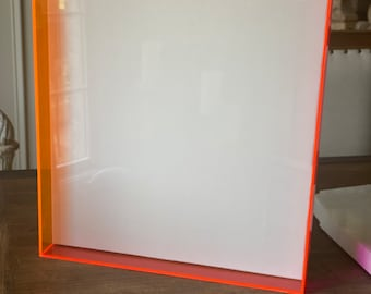 Frame Neon Acrylic Pink & Orange Shadow Frame with a White Canvas CUSTOM available