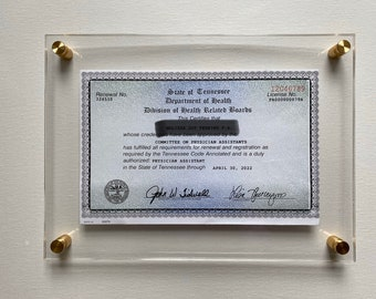 Frame Acrylic Diploma Document Floating Wall Mounted. CUSTOM SIZES. Graduation, Paper, Picture, Poster, Photo Standoff Bolts 12 Colors