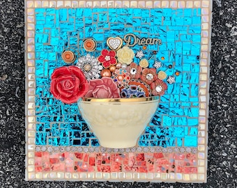 Mosaic Half-Cup Wall Panel with Jeweled Bouquet