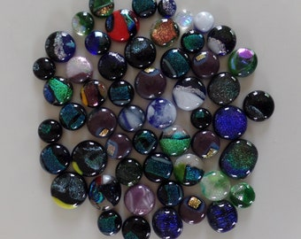 Assortment of Dichroic Fused Glass Cabochons Set #1