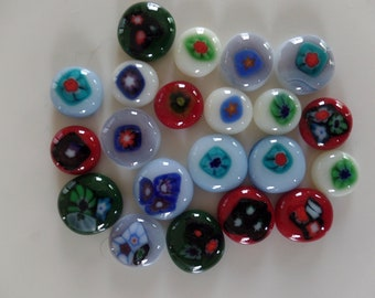 21 Fused Glass Cabochons with Murini Accents