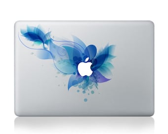 Macbook 13 inch decal sticker blue lily and apple art for Apple Laptop