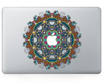 Macbook 13 inch decal sticker blue kaleidoscope and apple art for Apple Laptop