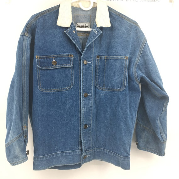 Vintage womens denim jacket 1980's size small cord