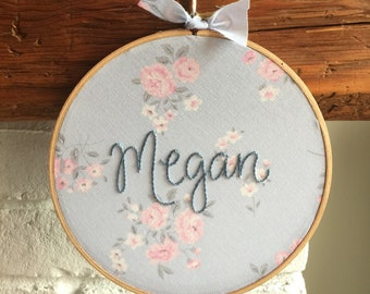 personalized embroidery . hand embroidered name . vintage flower fabric . nursery decor . girls . custom keepsake . one of a kind gifting