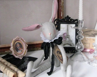 Artist Bunny Rabbit toy French Vintage Nursery decor rabbit Soft toy rabbit Shabby Chic Plush rabbit Stuffed rabbit Handmade Cloth rabbit