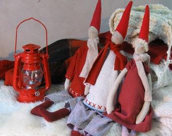 Tilda dolls Scandinavian Christmas dolls Pixie elf doll Primitive Christmas dolls Gnomes Nordic Christmas elf Scandinavian New Year decor