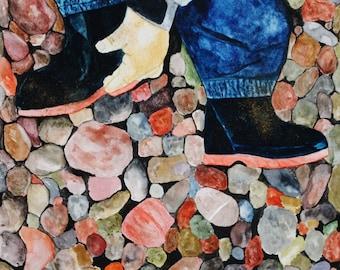 Wellies. Giclee art print