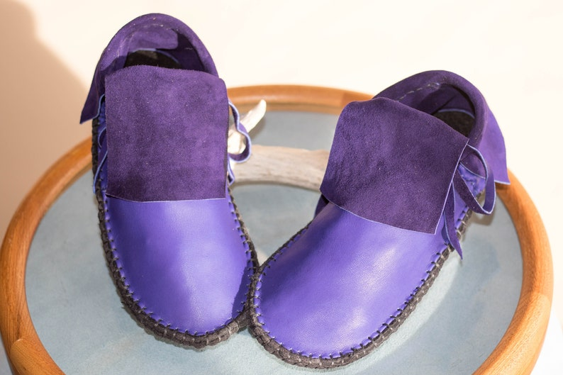 bb95a5c0490 Hand Sewn Moccasins, Handmade, Custom Made to Order, Short Mocs, Purple  Shoes, Natural Buffalo Sole, Earthing, Grounding