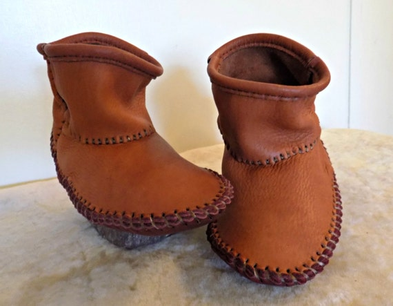 Moccasins Handmade Hand Sewn Ankle Boots Natural Buffalo