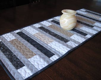 Gray, Black, Tan Stripes Quilted Table Runner - neutral colors table runner