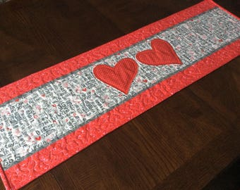 Red Hearts Quilted Table Runner - red and gray Valentine Table Runner