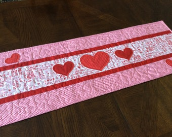 Dear Heart Valentine Quilted Table Runner - red hearts, red and pink table runner