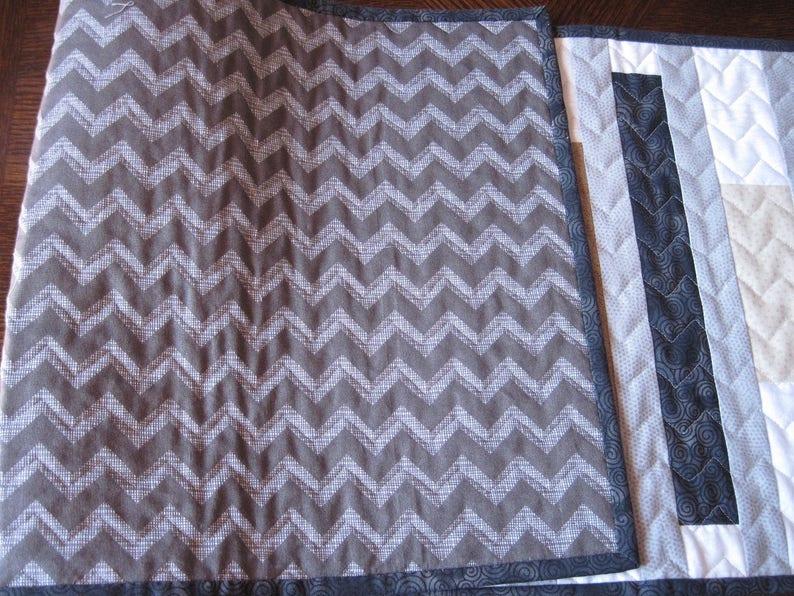 Black Tan Stripes Elegant Neutral Quilted Table Runner Gray