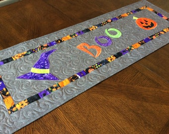 Boo! Halloween Quilted Table Runner