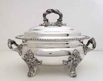 Large Ornate Silver Plate Covered Serving Dish