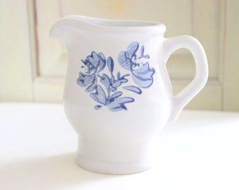 Vintage Pfaltzgraff Pitcher Pottery Creamer Yorktowne Pattern Syrup Pitcher Blue White Stoneware Folk Art Flowers Pfaltzgraff Dinnerware