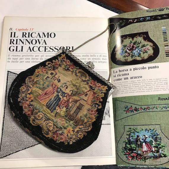 Vintage Tapestry Bag vintage 50s black embroidered