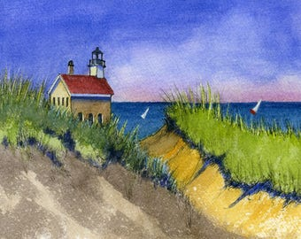 Lighthouse with Victorian Cottage by the Sea #3 Wall Picture 8x10 Art Print