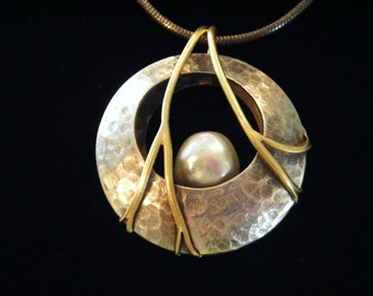Hunters Moon Pendant, hand forged silver and 14k gold, large pearl