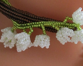 Instant download beading tutorial - Lily of the Valley - flower component - peyote - herringbone