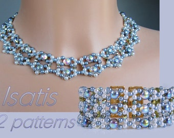 Isatis - Choker & Bracelet - 2 Beading Patterns - Diamond Weave (Variation 11 and 12) - Tutorial only - instant dowload