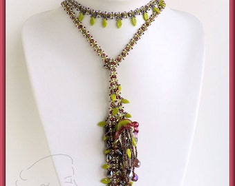 Instant download - Butterfly Rope Lariat - Beading Pattern - RAW - Necklace - fast& easy