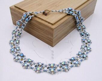 Isatis - Necklace Beading Pattern - Diamond Weave (Variation 11) - Tutorial only - PDF Direct Download