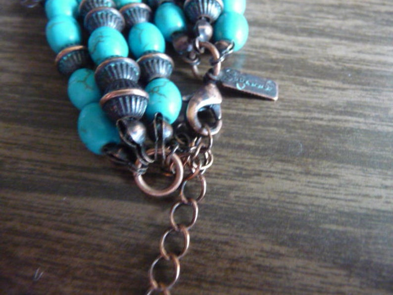 Vintage signed Sugaard  triple strand copper and turquoise bead necklace 20  beauty