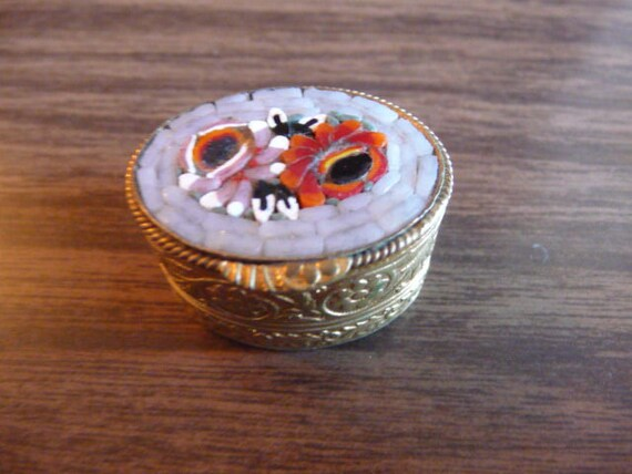Villa Italy micro mosaic inlay pill or stash box v