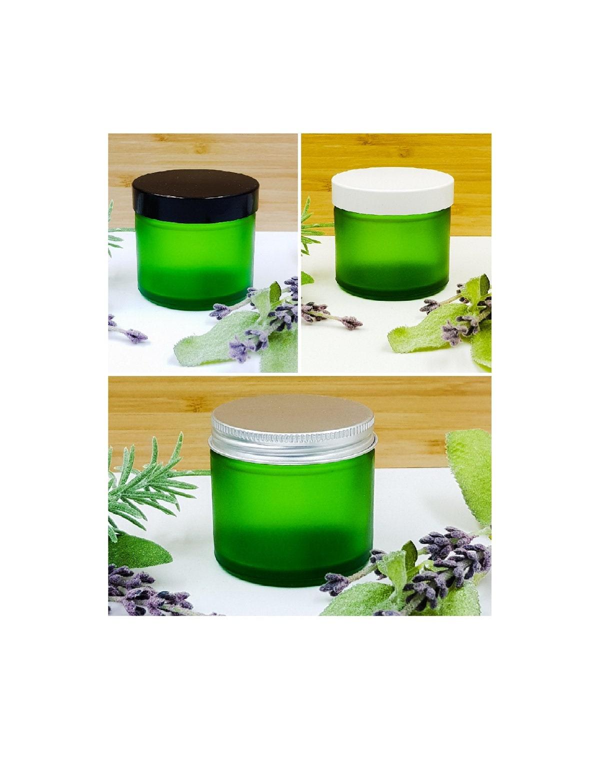 Plant De Menthe En Pot 1pcs-6pcs empty 60ml frosted green glass jars with black, white or  aluminium screw on lids.