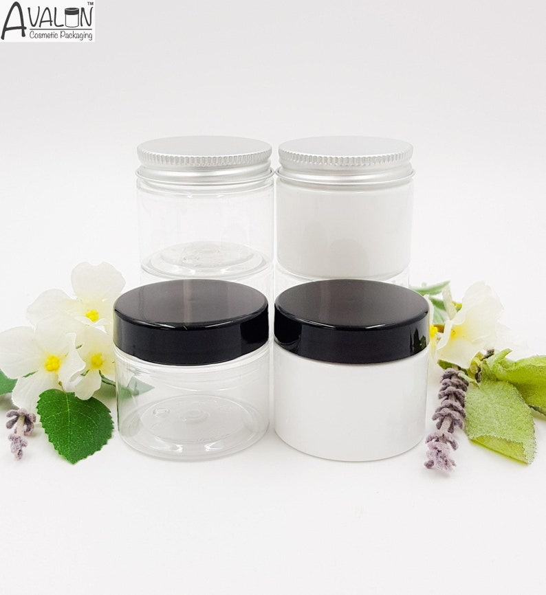 993f3fc183a8 1pcs-24pcs Clear or White PET Plastic Jars 50ml with 48mm Aluminium or  Black Screw on Lids.