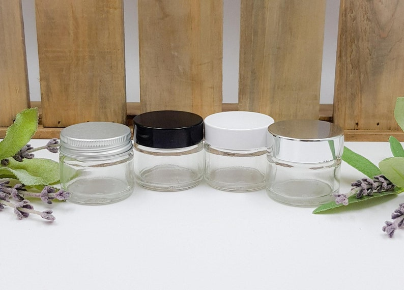 9f80150ea205 1pcs-6pcs Empty Small 15ml Clear Glass Jars with Black, White, Aluminium or  Shiny Silver screw on lids.