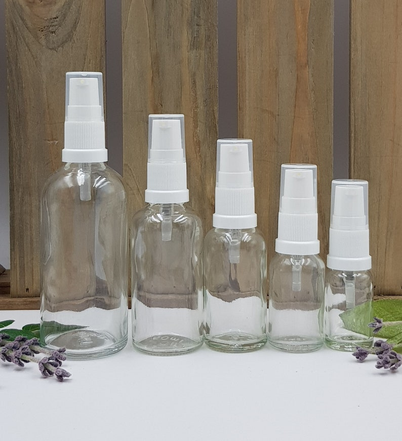 7577abe54571 1pcs - 6pcs Empty Clear Glass Bottles (10ml, 15ml, 30ml, 50ml, 100ml) with  White Lotion/Treatment Pump tops and lids.