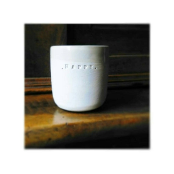 Personalized ceramic coffee mug white glazed earthenware