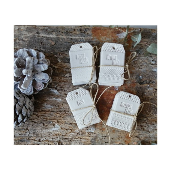 Ceramic White Raw Clay Pottery Christmas Birthday Wedding Baptism Ceramic Labels