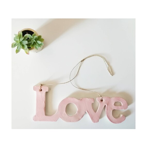 Ceramic wall decoration love pink powdery pottery