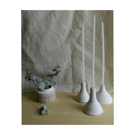 Candle holder ceramic matte white dome